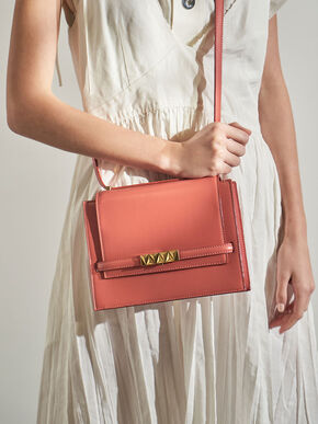 Metallic Push-Lock Crossbody Bag, Coral, hi-res