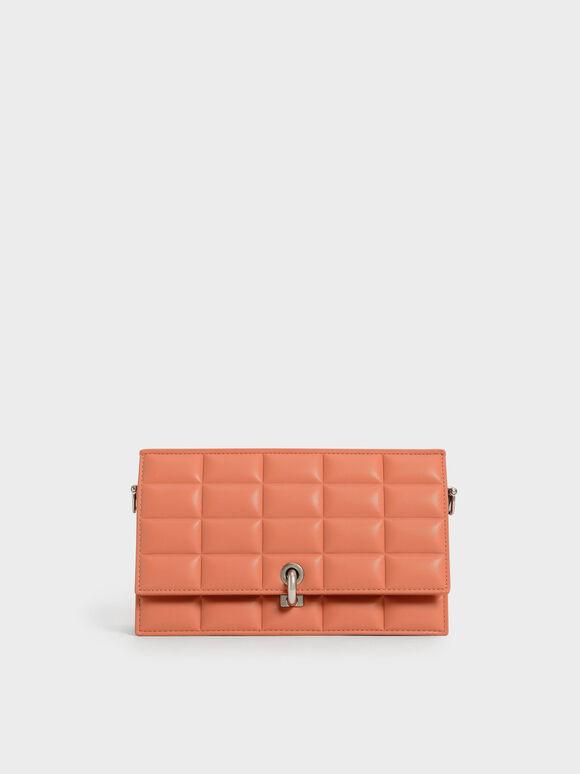Padded Turn-Lock Long Wallet, Orange, hi-res
