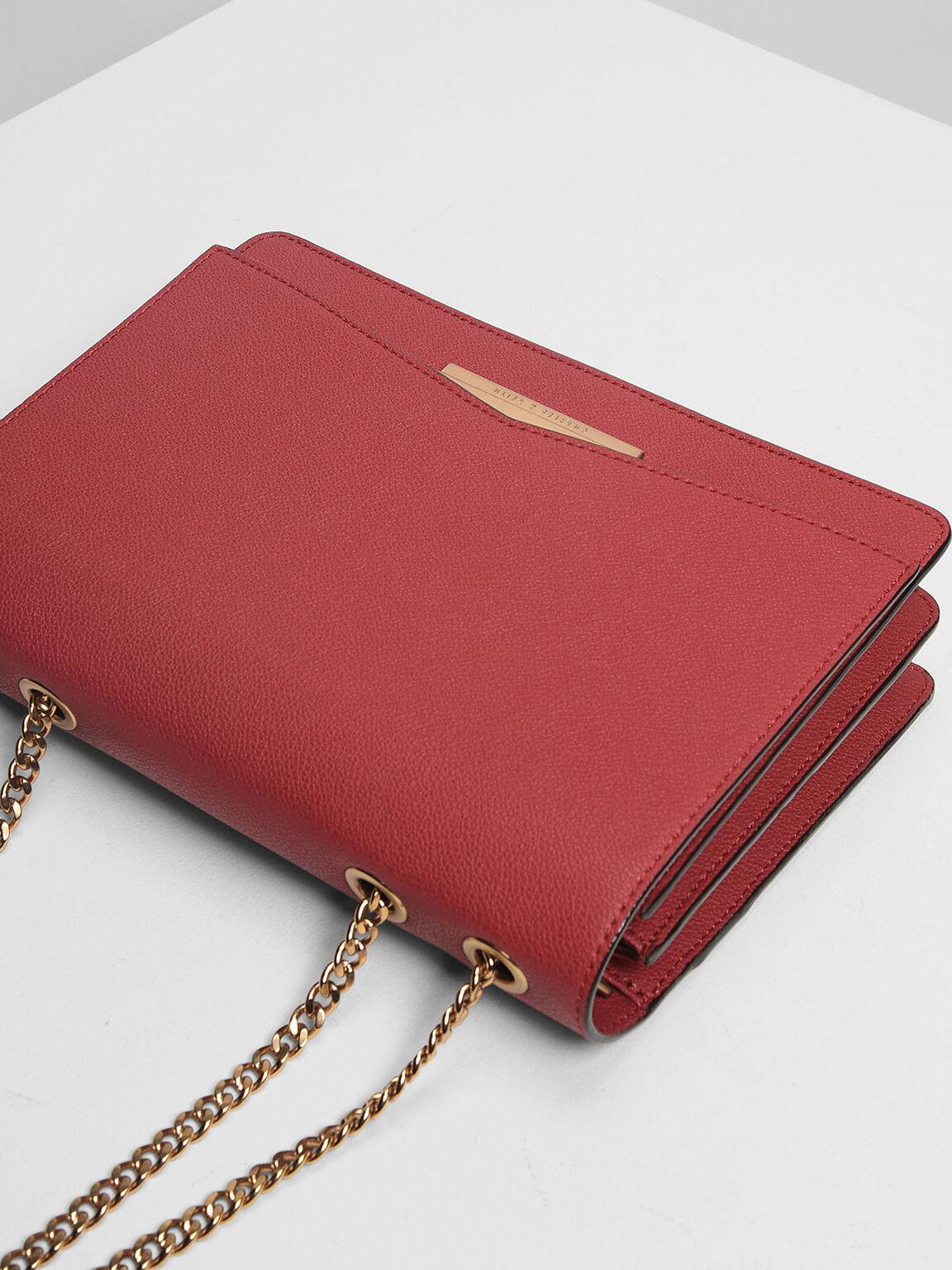 Classic Push-Lock Crossbody Bag, Red, hi-res