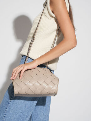 Woven Shoulder Bag, Taupe, hi-res