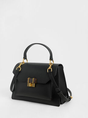 Stone-Embellished Geometric Bag, Black, hi-res
