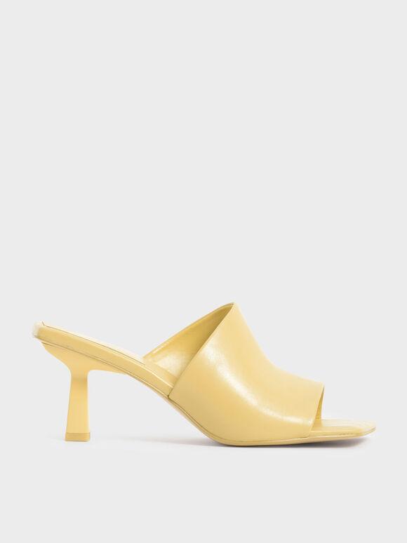 Asymmetric Square Toe Mules, Yellow, hi-res