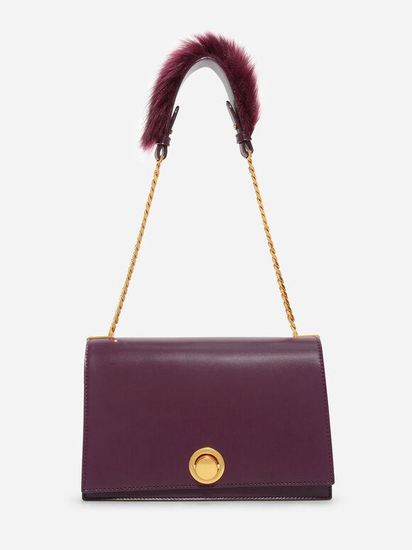 Metallic Accent Shoulder Bag, Burgundy, hi-res