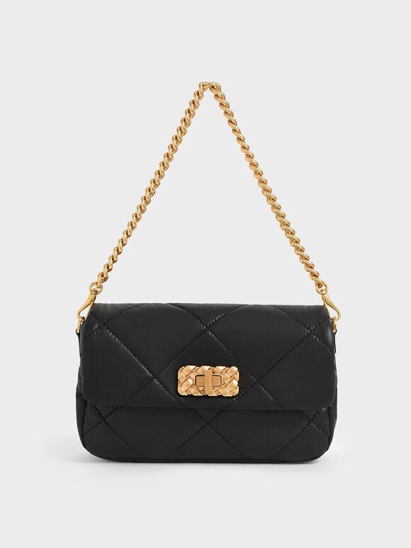 Puffy Metallic Turn-Lock Crossbody Bag, Black, hi-res