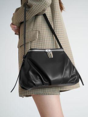 Two-Way Zip Dome Bag, Black, hi-res