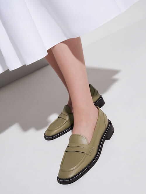 รองเท้าโลฟเฟอร์ SCALLOP-TRIM PENNY LOAFERS