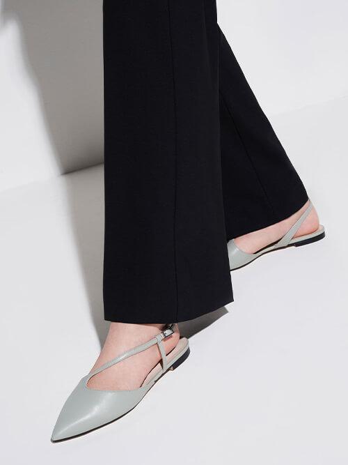 Pointed Toe Asymmetric Strap Ballerina Flats