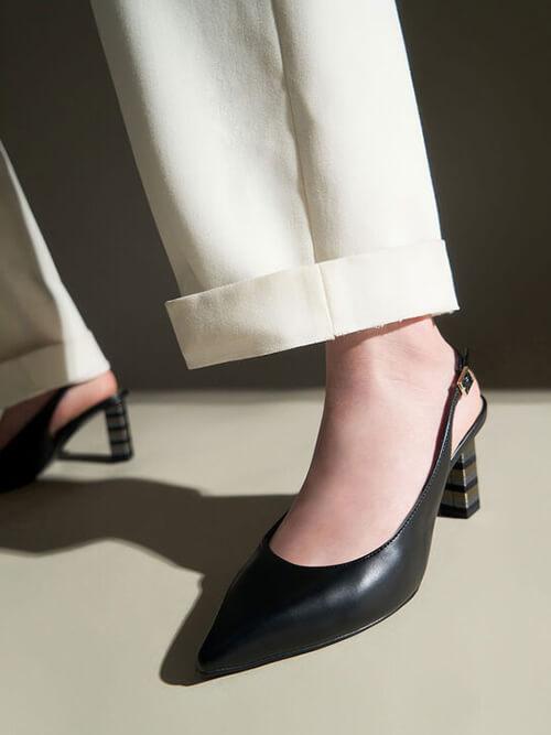 รองเท้าปิดส้น Slingback Block Heel Pumps