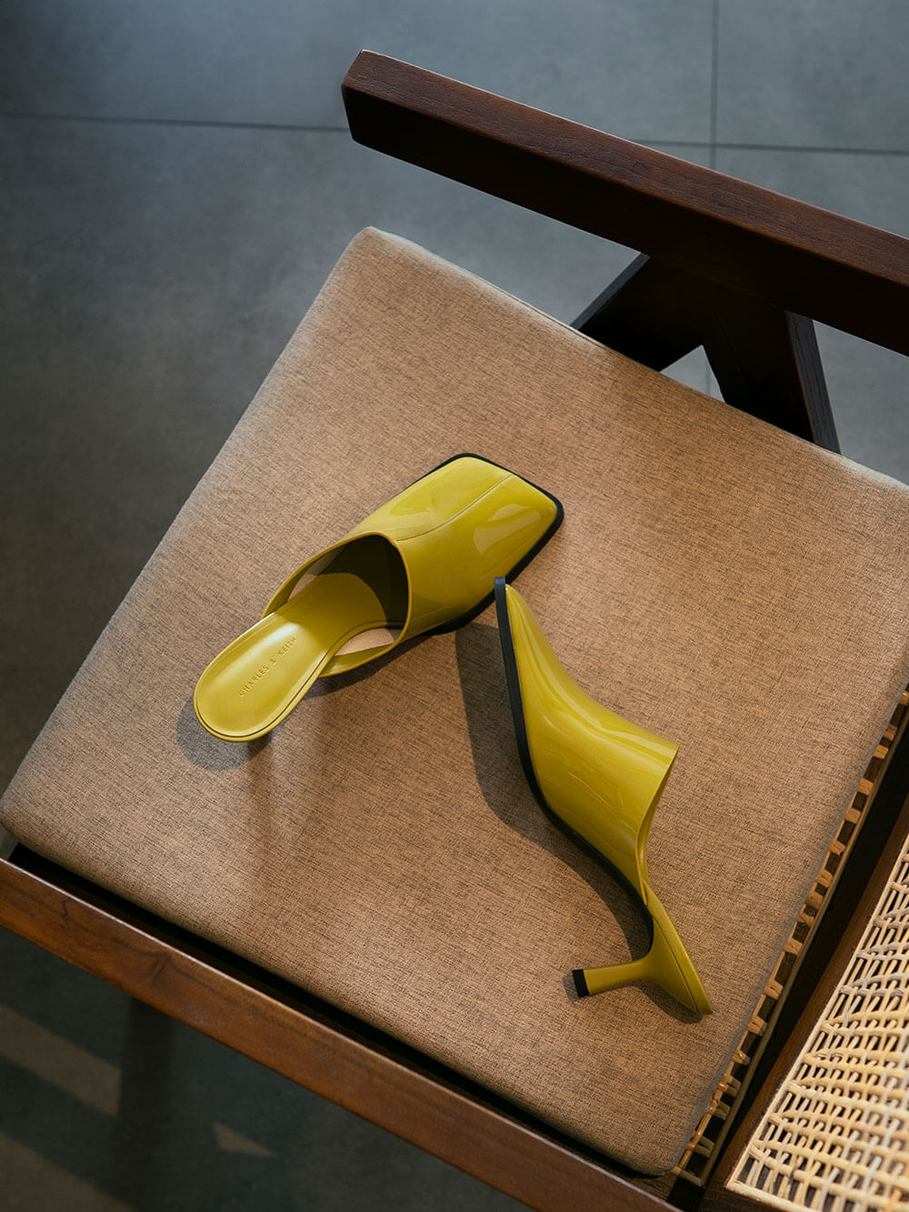 Women's patent covered mules in moss - CHARLES & KEITH